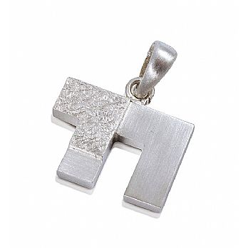 Sterling Silver Chai Pendant 2 Tone Brushed