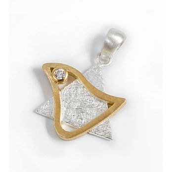Sterling Silver Star with Dove Pendant - 2 Tone