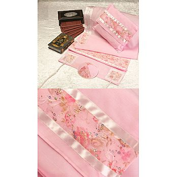 Soft Cotton Luxurious Tallit Set - Floral Pink on Pink