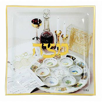 Decorated Glass Matzah Plate