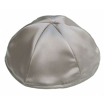 Satin Kippot with Optional Personalization - Silver/Grey
