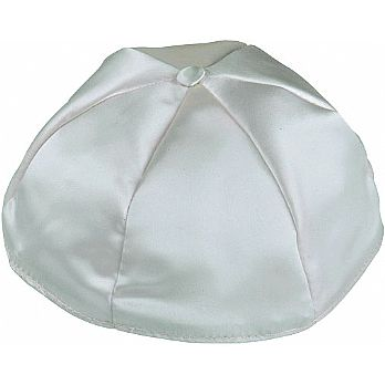 Satin Kippot with Optional Personalization - Light Grey