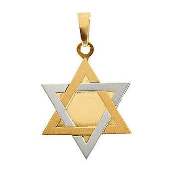14K 2-Tone Star of David Pendant