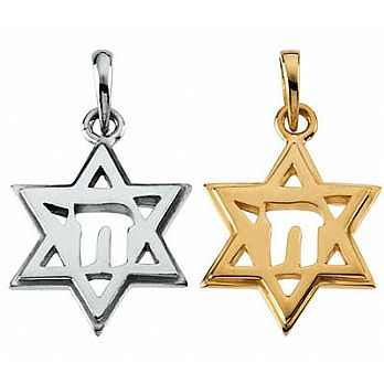 14K Gold Star of David With Chai