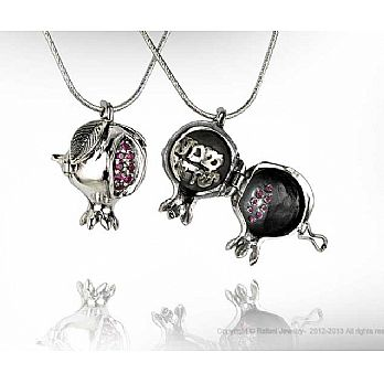 Sterling Silver Shema Locket Pomegranate With Rubies