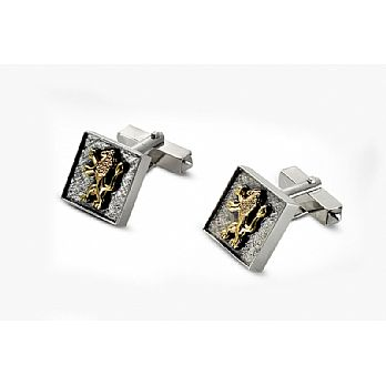 Sterling Silver & 9K Judaic Cufflinks with Lions of Judah