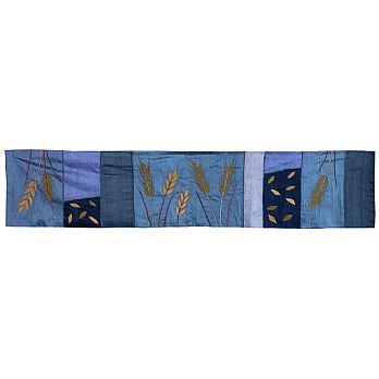 Judaic Table Runner - Wheat on Blue