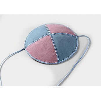 Suede Baby or Toddler Kippah with Straps - Light Blue/Pink