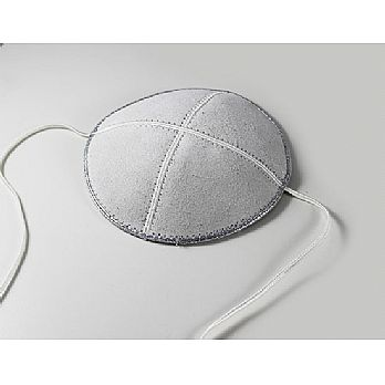Suede Baby or Toddler Kippah w/Straps - White/Silver Trim