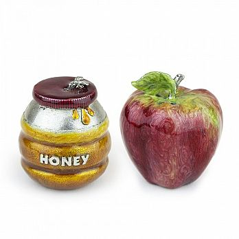 Painted Pewter Honey & Apple Salt & Pepper Shakers - 2 PC Set
