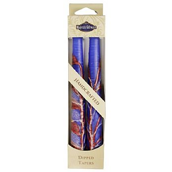 2 Pack Safed Taper Candle - Double Tree Blue