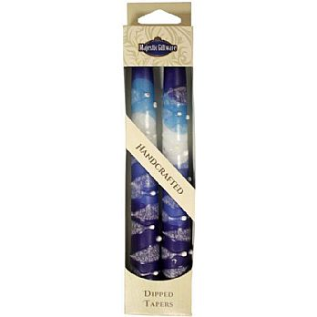 2 Pack Safed Taper Candle - Snow Blue Drops