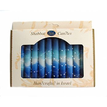 Long Shabbat Candles - Multi Blue