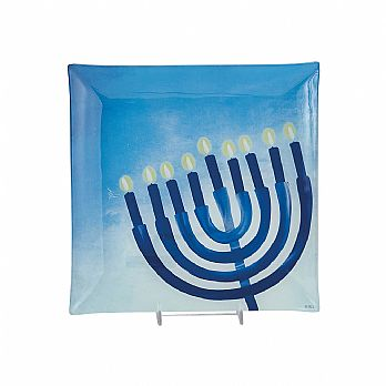 Square Glass Hanukkah Serving Tray - Sapphire Collection