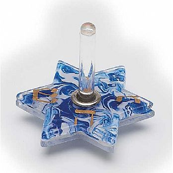 Fused Glass Star Dreidel - Blue and White