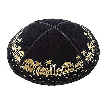 Black Suede Kippah with Jerusalem Design.