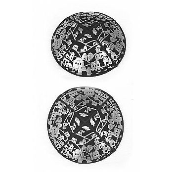Embossed Suede Kippot - Jerusalem Panorama in Silver