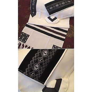Soft Cotton Luxurious Tallit Set - Black & Star of David