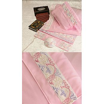 Soft Cotton Luxurious Tallit Set - Pink with the 4 Matriarchs