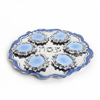 Exquisite Hand Panted Seder Plate - Moving Water