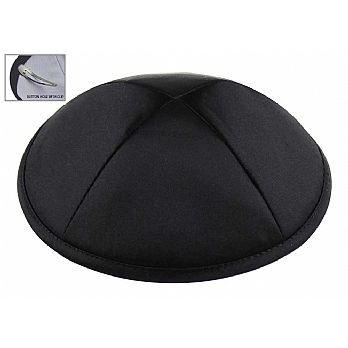 Deluxe Imprinted Satin Kippot - Black