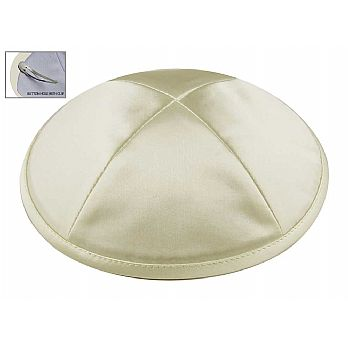 Ivory/Cream Satin Deluxe Kipah with Kippah Clip