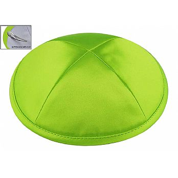 Lime Green Satin Deluxe Kipah with Kippah Clip