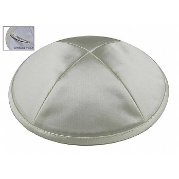 Light Grey Satin Deluxe Kipah with Kippah Clip