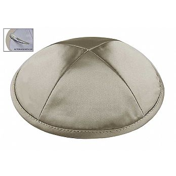Medium Grey Satin Deluxe Kipah with Kippah Clip