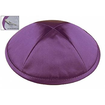 Deluxe Imprinted Satin Kippot - Medium Purple