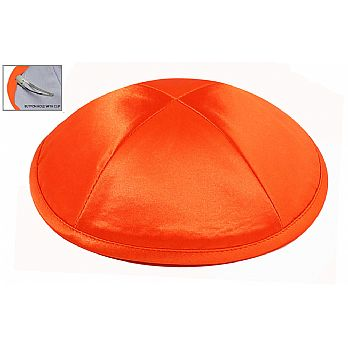 Deluxe Imprinted Satin Kippot - Orange