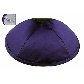 Purple Satin Deluxe Kipah with Kippah Clip