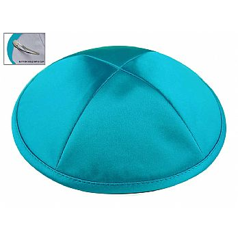 Turquoise Satin Deluxe Kipah with Kippah Clip