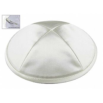 Deluxe Imprinted Satin Kippot - White
