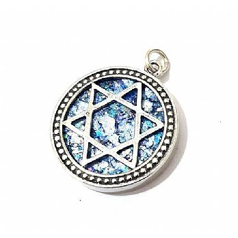 Sterling silver star of David with ancient Roman glass