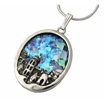 Sterling silver Jerusalem pendant with ancient Roman glass
