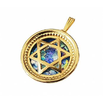 14K gold star of David with ancient Roman glass
