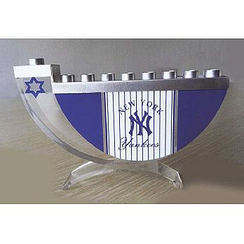 Acrylic and Steel Hanukkah collectors Menorah - Yankees