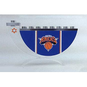 Acrylic and Steel Hanukkah collectors Menorah - NY Knicks