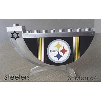 Acrylic and Steel Hanukkah collectors Menorah - Steelers