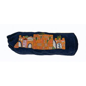 Velvet Shofar Pouch - Navy Bag with Jerusalem