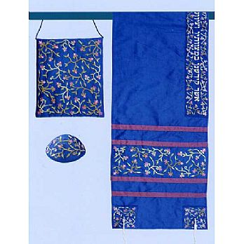 Embroidered Raw Silk Tallit Set - Blue Floral