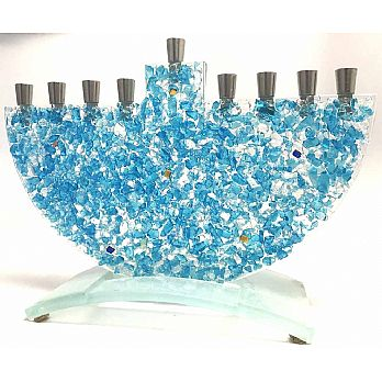 Crushed Sky Blue - Art Glass Menorah by Tamara Baskin