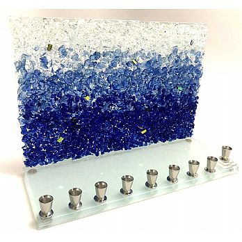 Ombre Blues Western Wall Menorah by Tamara Baskin