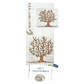 Raw Silk Embroidered Tallit Set - Brown Tree of Life
