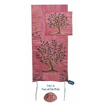Raw Silk Embroidered Tallit Set - Pink Tree of Life