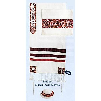 Raw Silk Embroidered Tallit Set - Maroon Stars of David