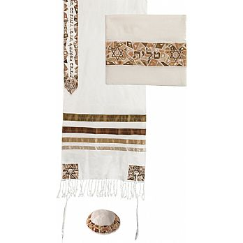 Raw Silk 3 Piece Tallit Set by Emanuel - Mosaic Stars Gold