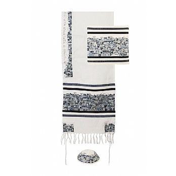 Tallit- Embroidered Jerusalem in Black