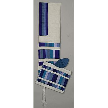 Elegant Raw SilkTallit Set - Multi Blue Stripes